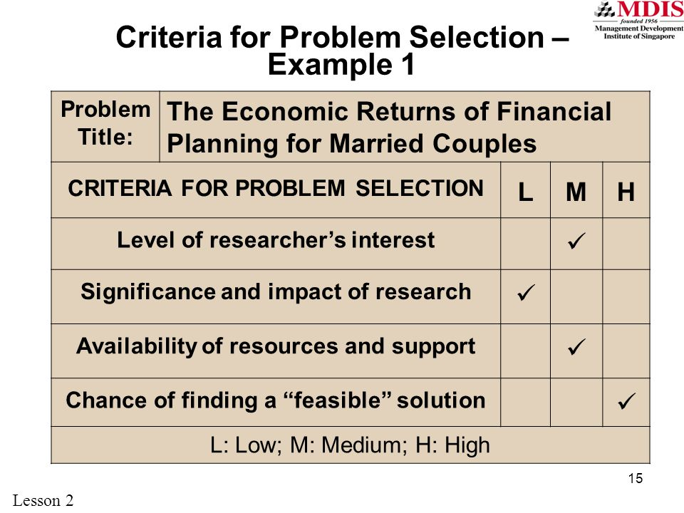 Criteria for Problem Selection – Example 1