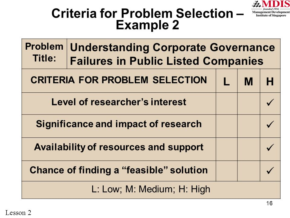 Criteria for Problem Selection – Example 2