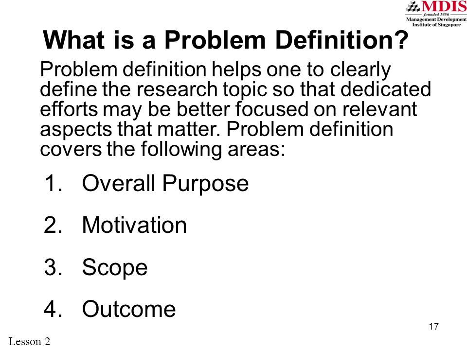 What is a Problem Definition