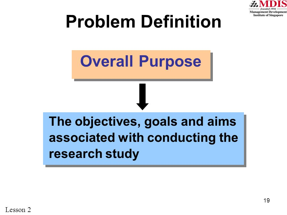 Problem Definition Overall Purpose