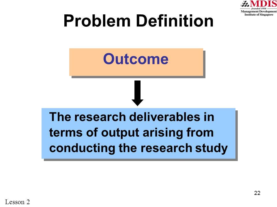 Problem Definition Outcome