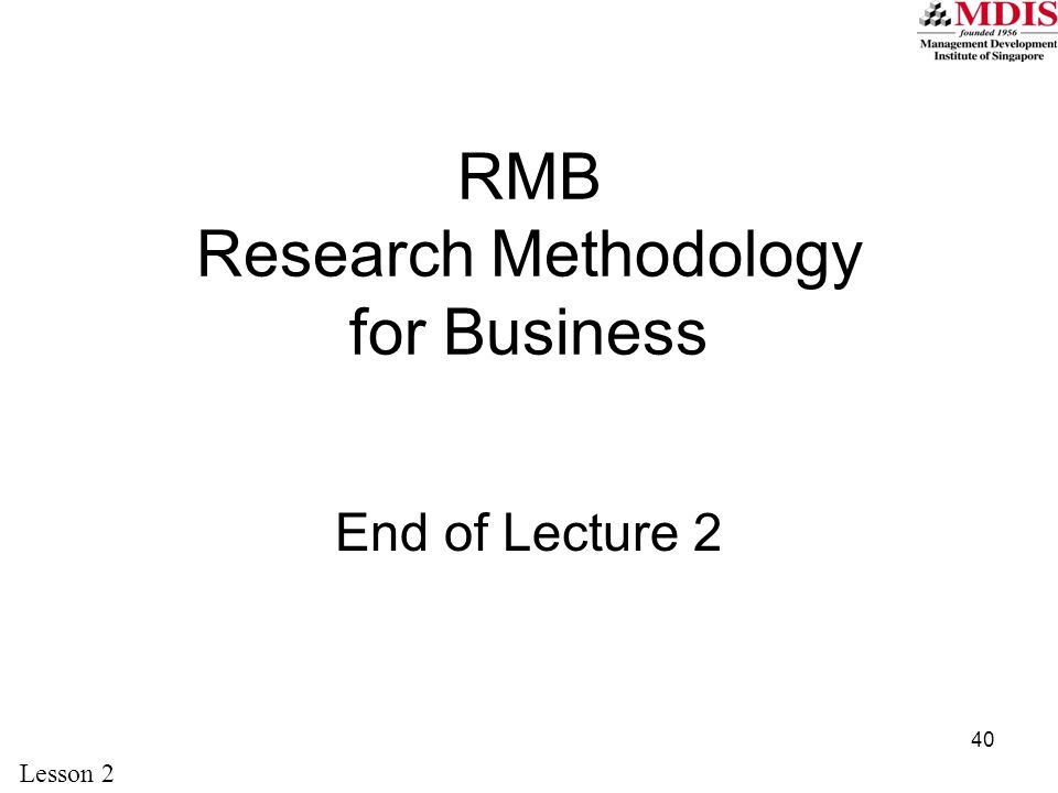 RMB Research Methodology for Business