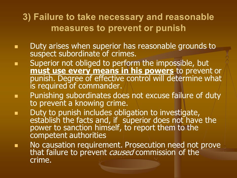 3) Failure to take necessary and reasonable measures to prevent or punish