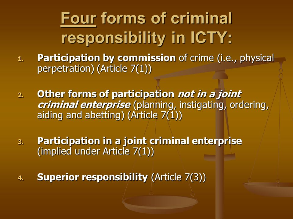 Four forms of criminal responsibility in ICTY: