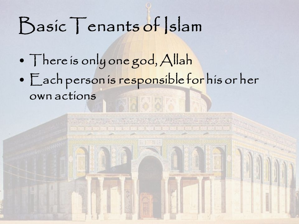 Basic Tenants of Islam There is only one god, Allah