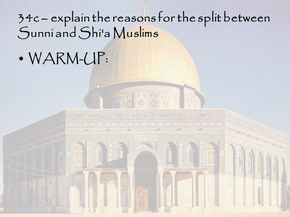 34c – explain the reasons for the split between Sunni and Shi a Muslims