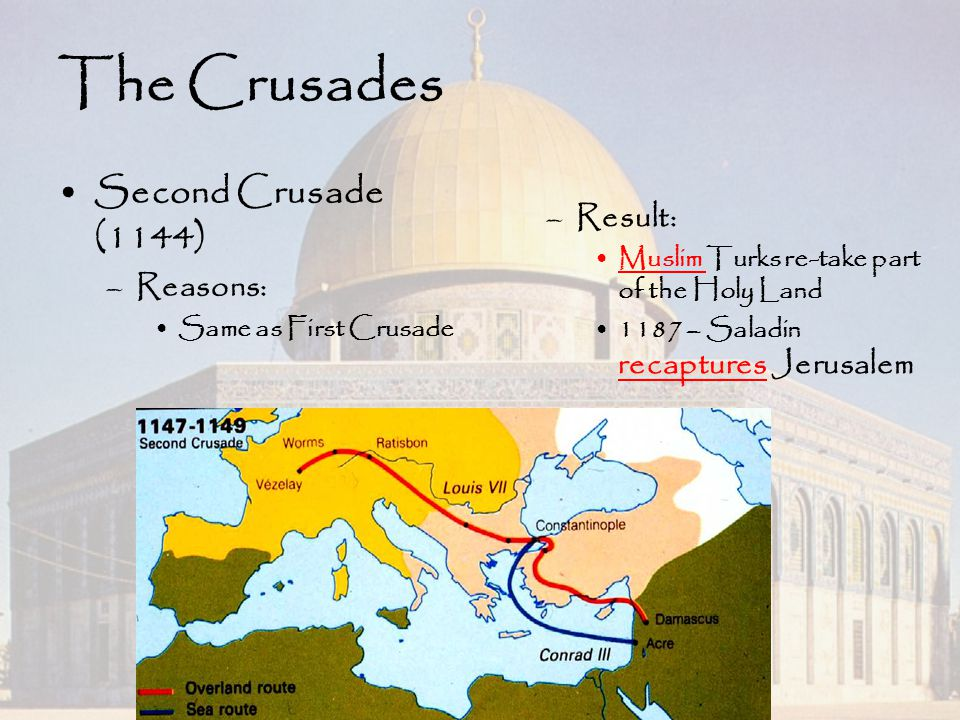 The Crusades Second Crusade (1144) Result: Reasons: