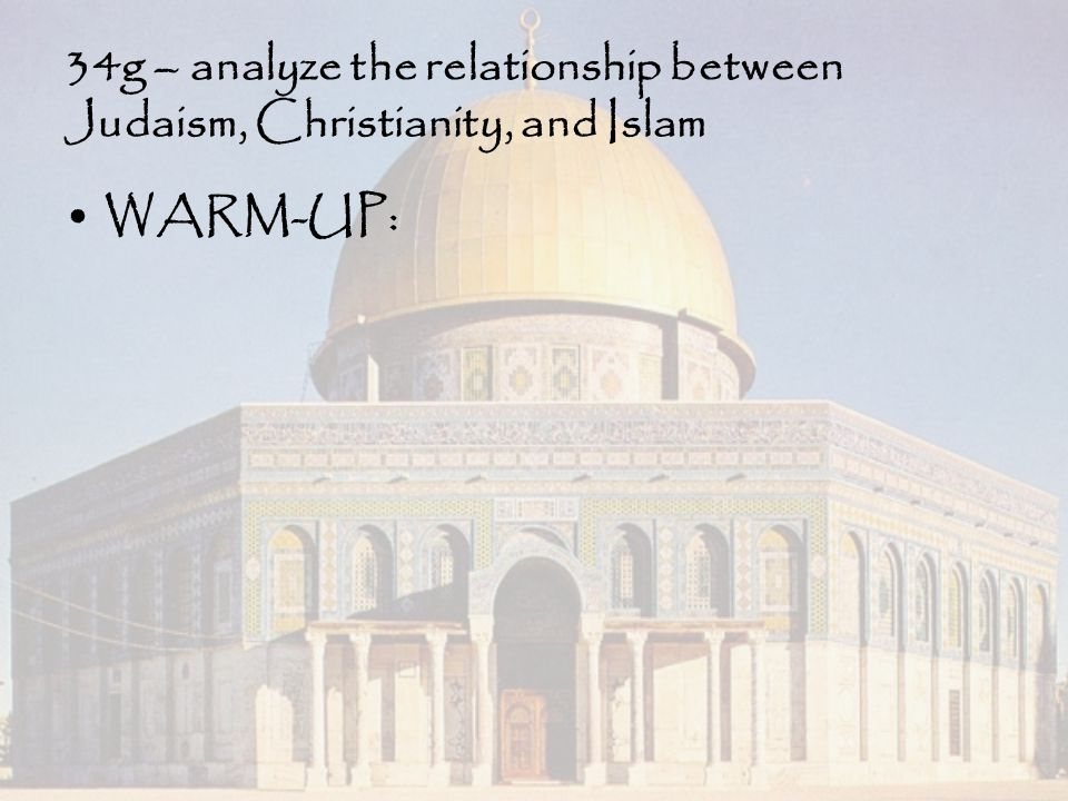 34g – analyze the relationship between Judaism, Christianity, and Islam