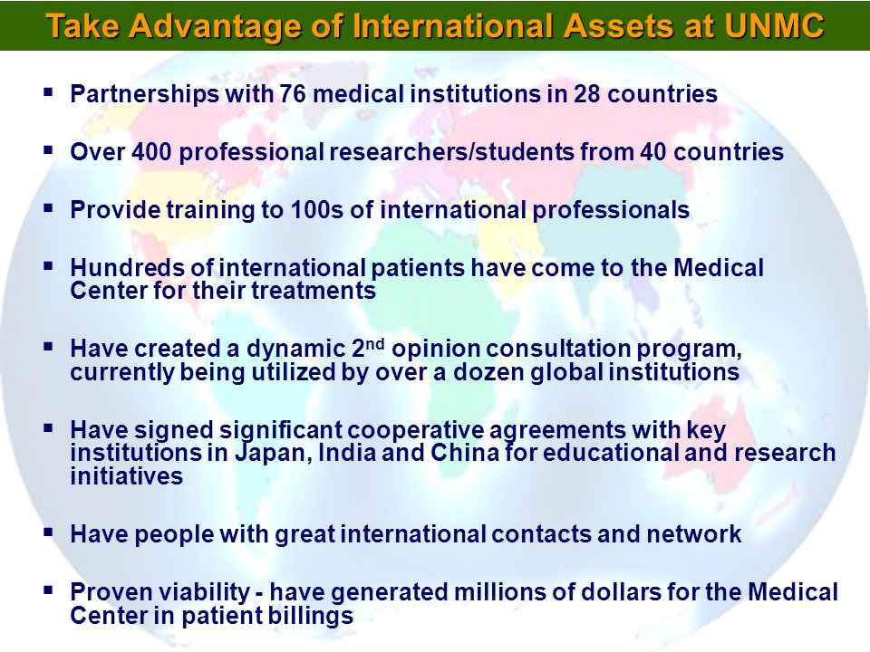 Take Advantage of International Assets at UNMC