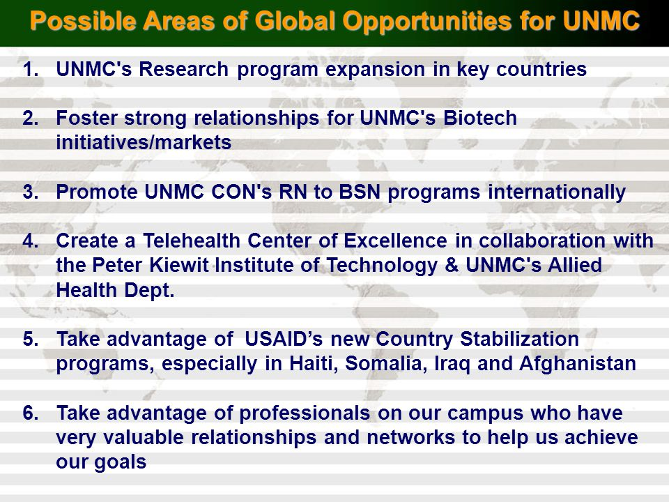 Possible Areas of Global Opportunities for UNMC