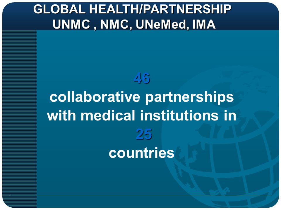 collaborative partnerships with medical institutions in 25 countries