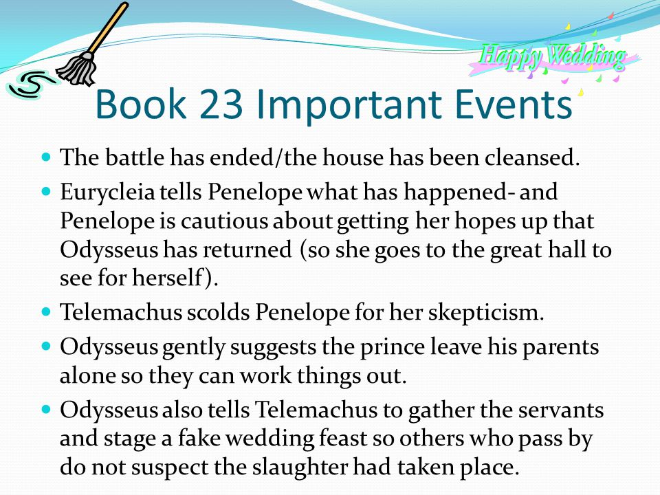 Book 23 Important Events The battle has ended/the house has been cleansed.