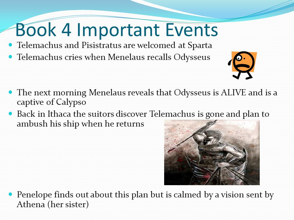 Book 4 Important Events Telemachus and Pisistratus are welcomed at Sparta. Telemachus cries when Menelaus recalls Odysseus.