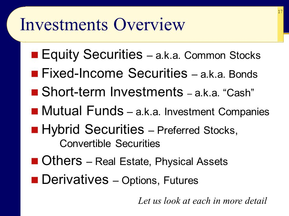 Investments Overview Equity Securities – a.k.a. Common Stocks