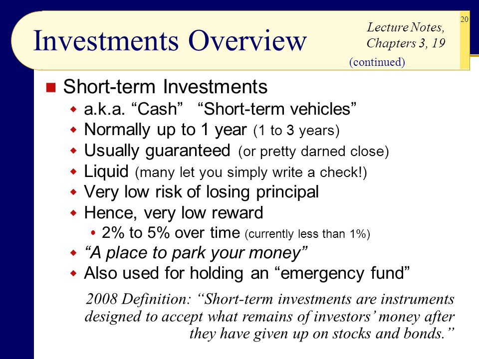 Investments Overview Short-term Investments