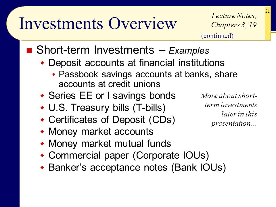Investments Overview Short-term Investments – Examples