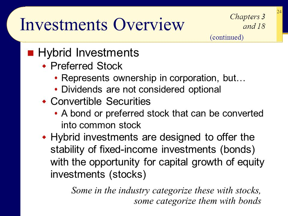 Investments Overview Hybrid Investments Preferred Stock
