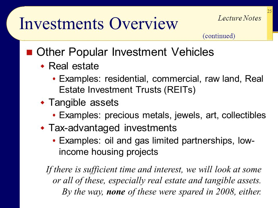 Investments Overview Other Popular Investment Vehicles Real estate