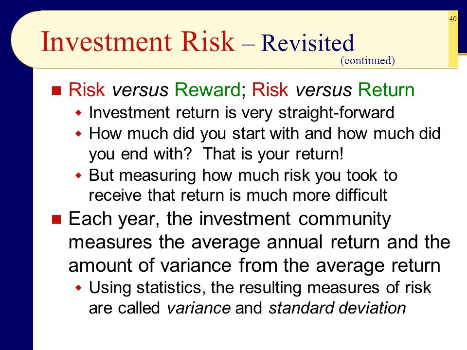 Investment Risk – Revisited