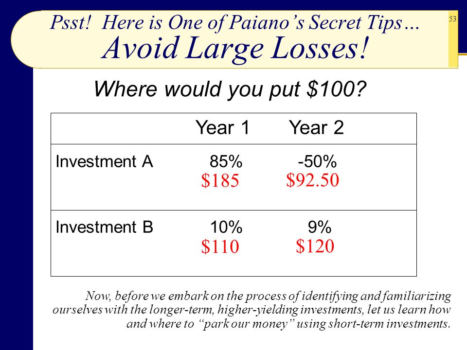 Psst! Here is One of Paiano's Secret Tips… Avoid Large Losses!