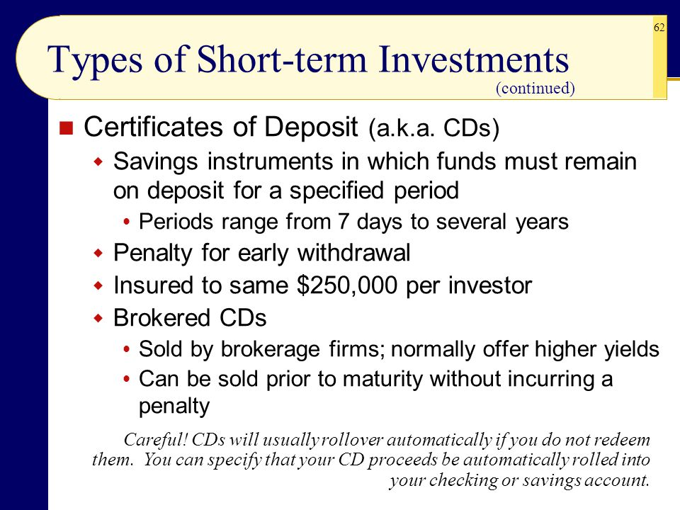 Types of Short-term Investments