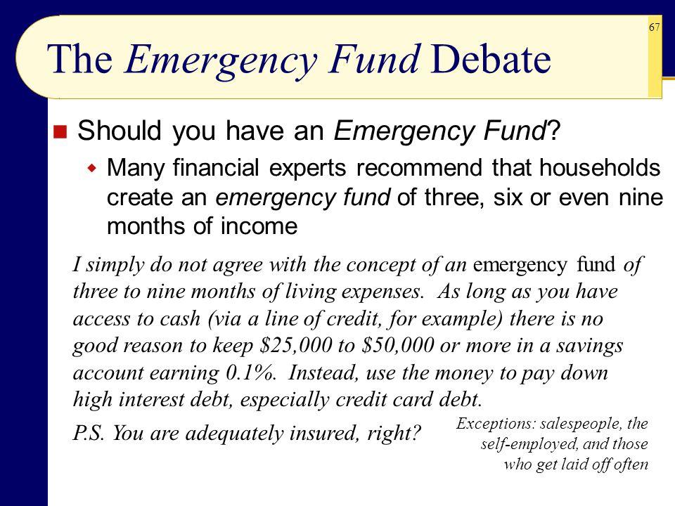 The Emergency Fund Debate