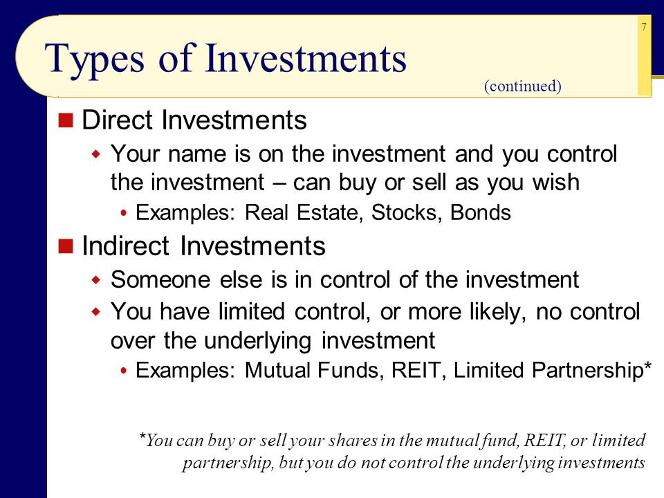Types of Investments Direct Investments Indirect Investments