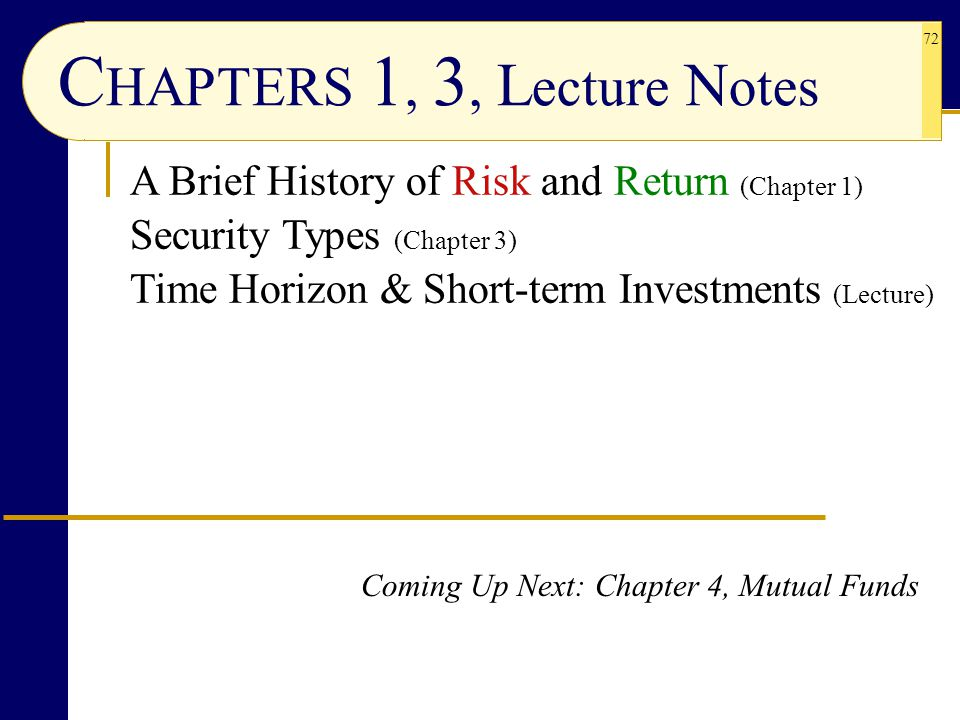 CHAPTERS 1, 3, Lecture Notes