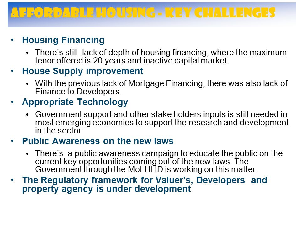 Affordable Housing - Key Challenges