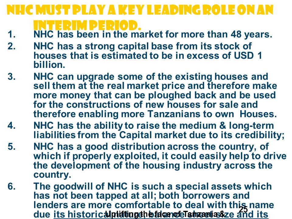 NHC must play A KEY leading ROLE ON AN INTERIM PERIOD.