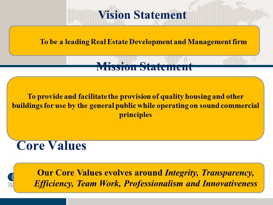 To be a leading Real Estate Development and Management firm
