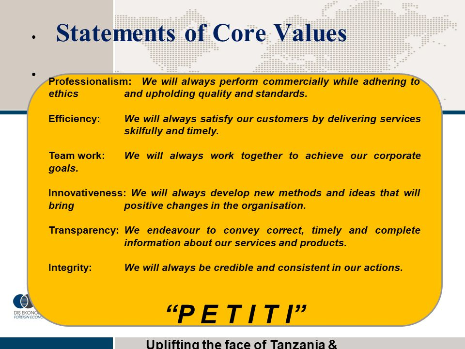 Statements of Core Values
