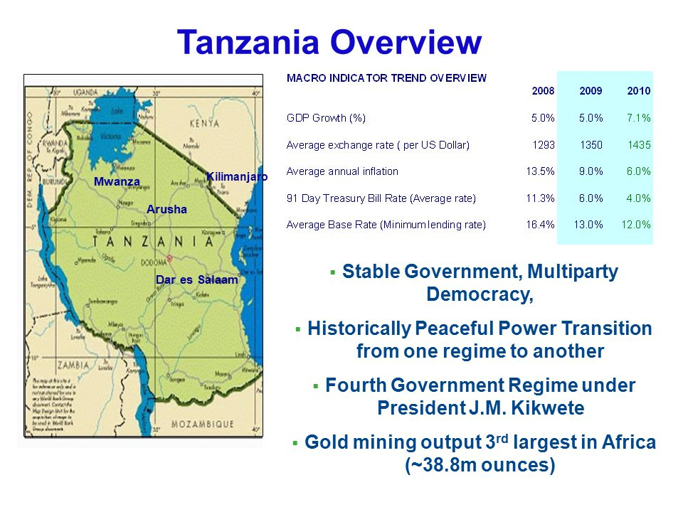 Tanzania Overview Stable Government, Multiparty Democracy,