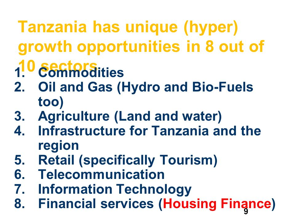 Tanzania has unique (hyper) growth opportunities in 8 out of 10 sectors
