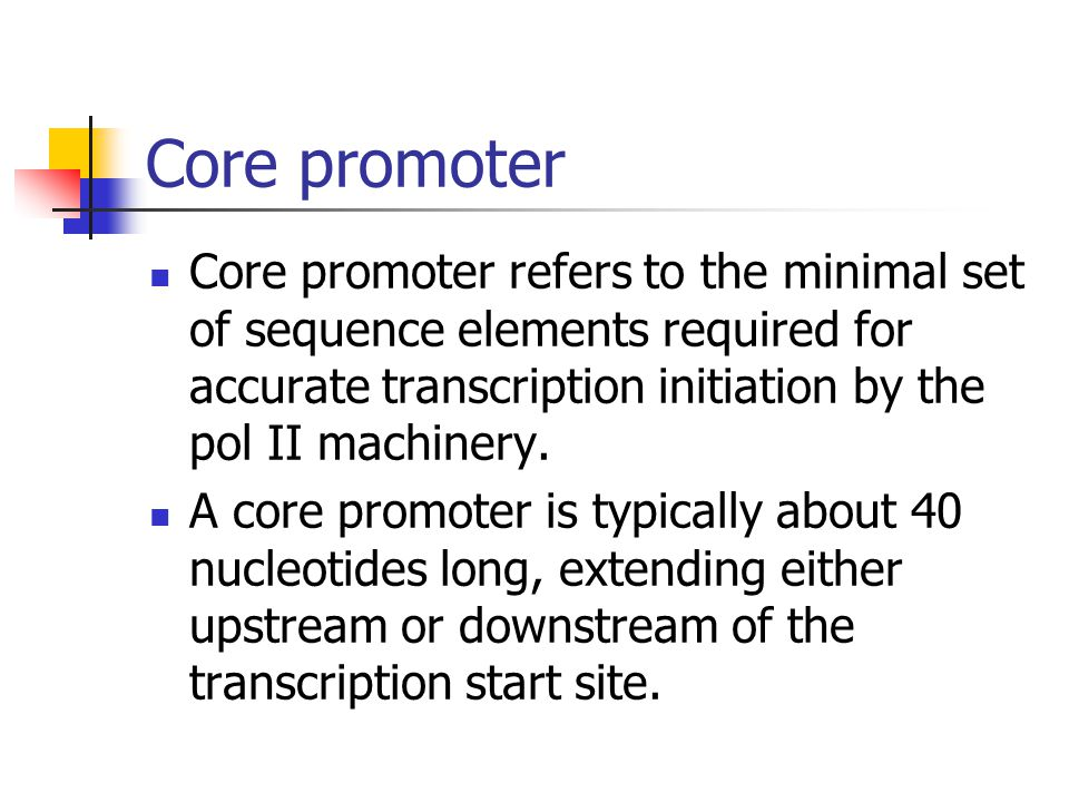 Core promoter Core promoter refers to the minimal set of sequence elements required for accurate transcription initiation by the pol II machinery.