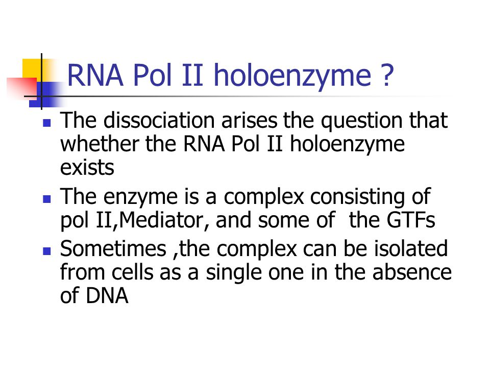 RNA Pol II holoenzyme The dissociation arises the question that whether the RNA Pol II holoenzyme exists.
