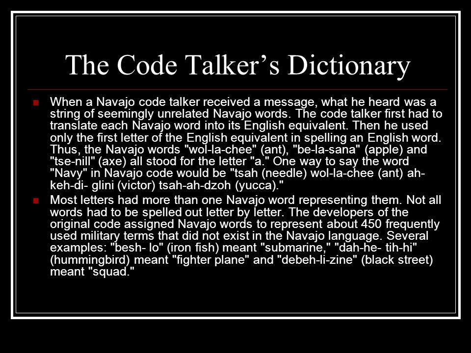 The Code Talker's Dictionary