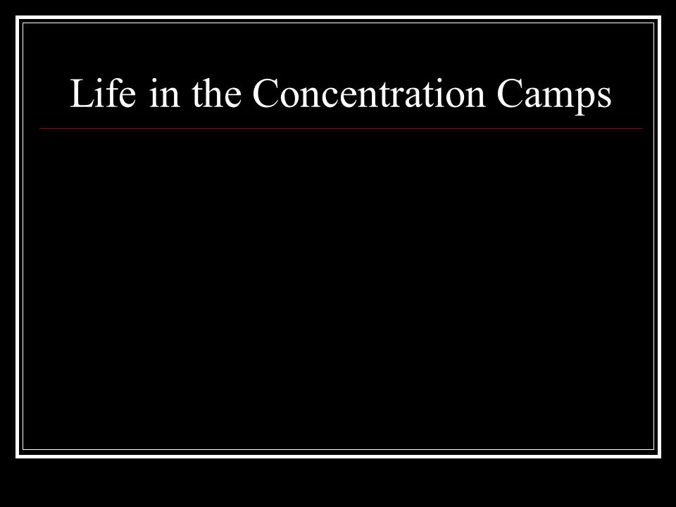 Life in the Concentration Camps