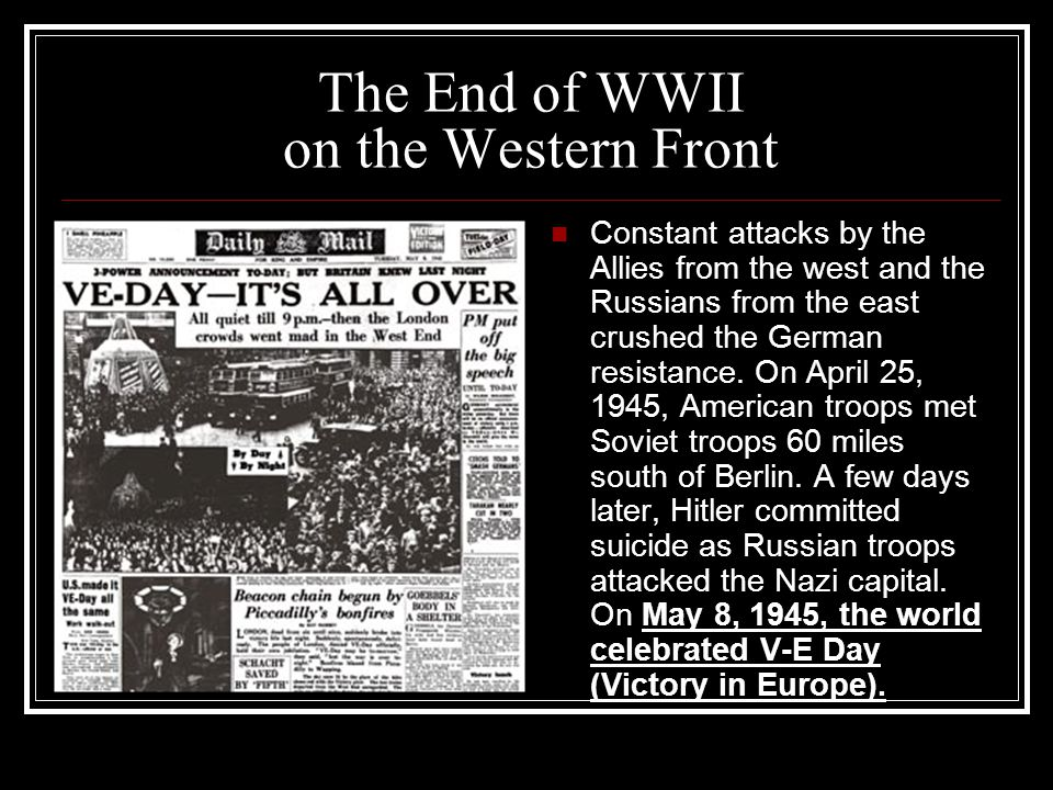The End of WWII on the Western Front