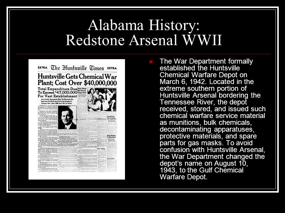 Alabama History: Redstone Arsenal WWII