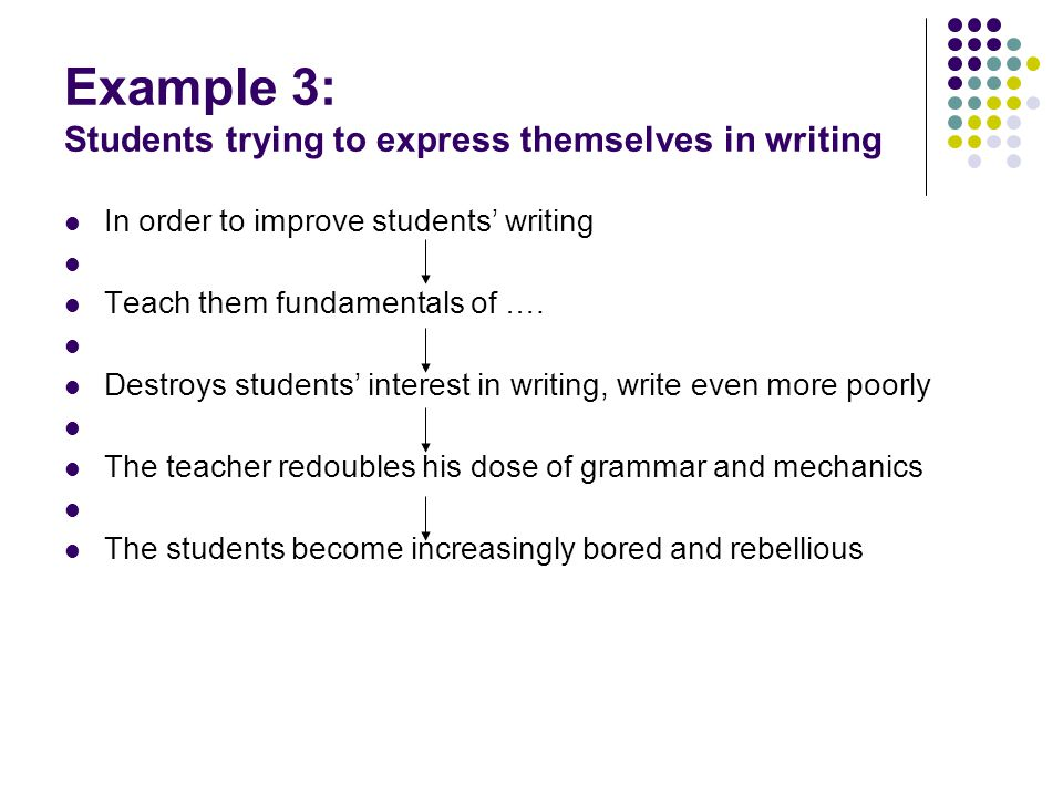 Example 3: Students trying to express themselves in writing