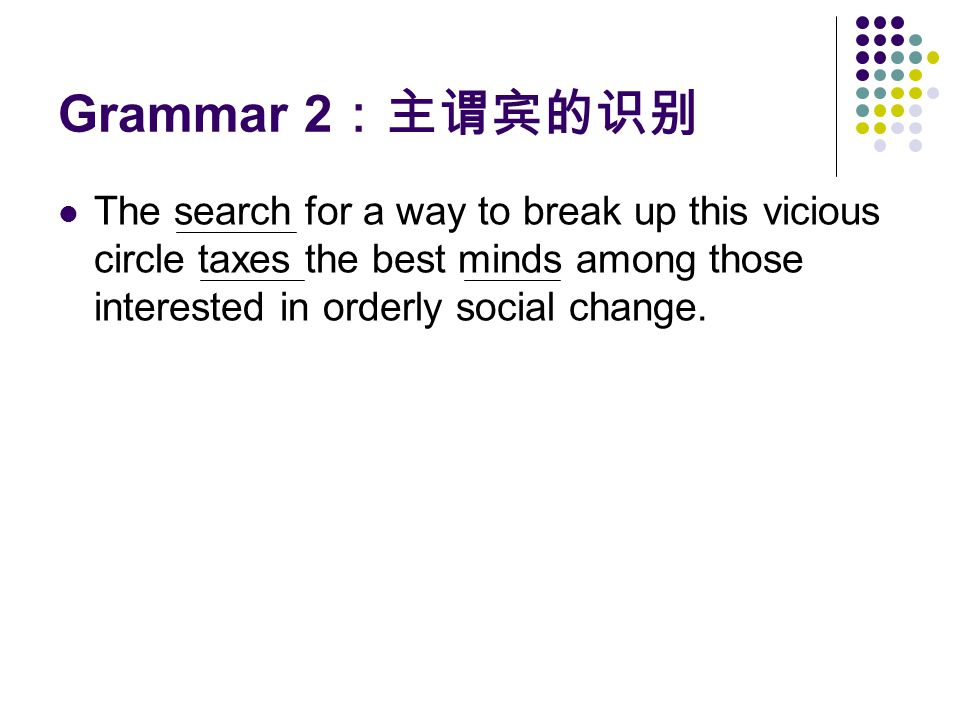 Grammar 2:主谓宾的识别 The search for a way to break up this vicious circle taxes the best minds among those interested in orderly social change.