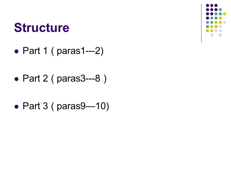Structure Part 1 ( paras1---2) Part 2 ( paras3---8)