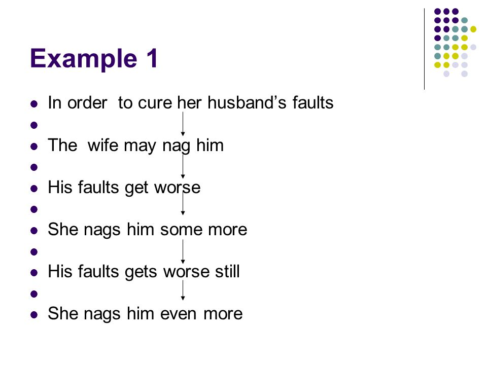 Example 1 In order to cure her husband's faults The wife may nag him
