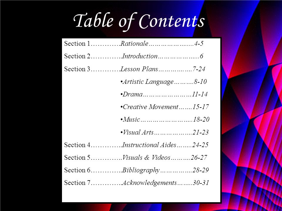 Table of Contents Section 1………….Rationale……………….....4-5
