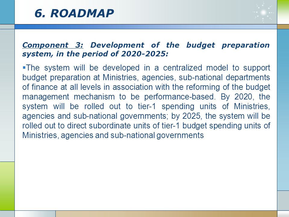 6. ROADMAP Component 3: Development of the budget preparation system, in the period of 2020-2025:
