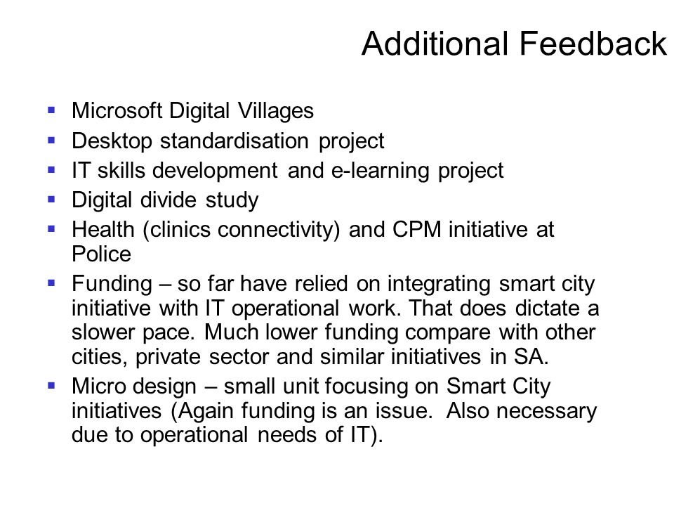 Additional Feedback Microsoft Digital Villages