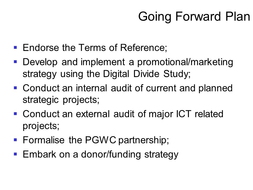Going Forward Plan Endorse the Terms of Reference;