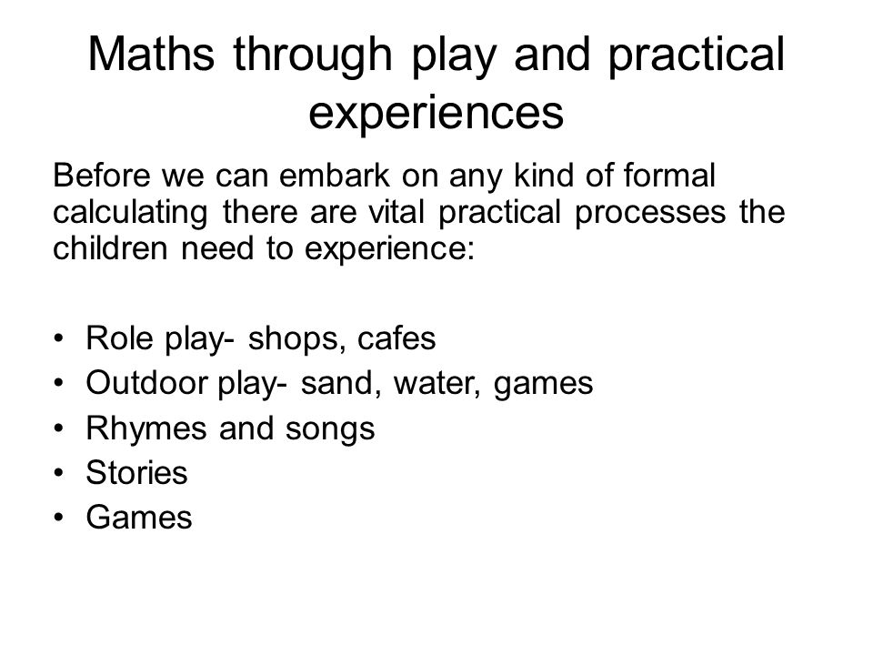 Maths through play and practical experiences