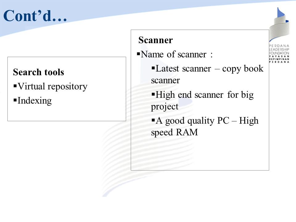 Cont'd… Name of scanner : Latest scanner – copy book scanner